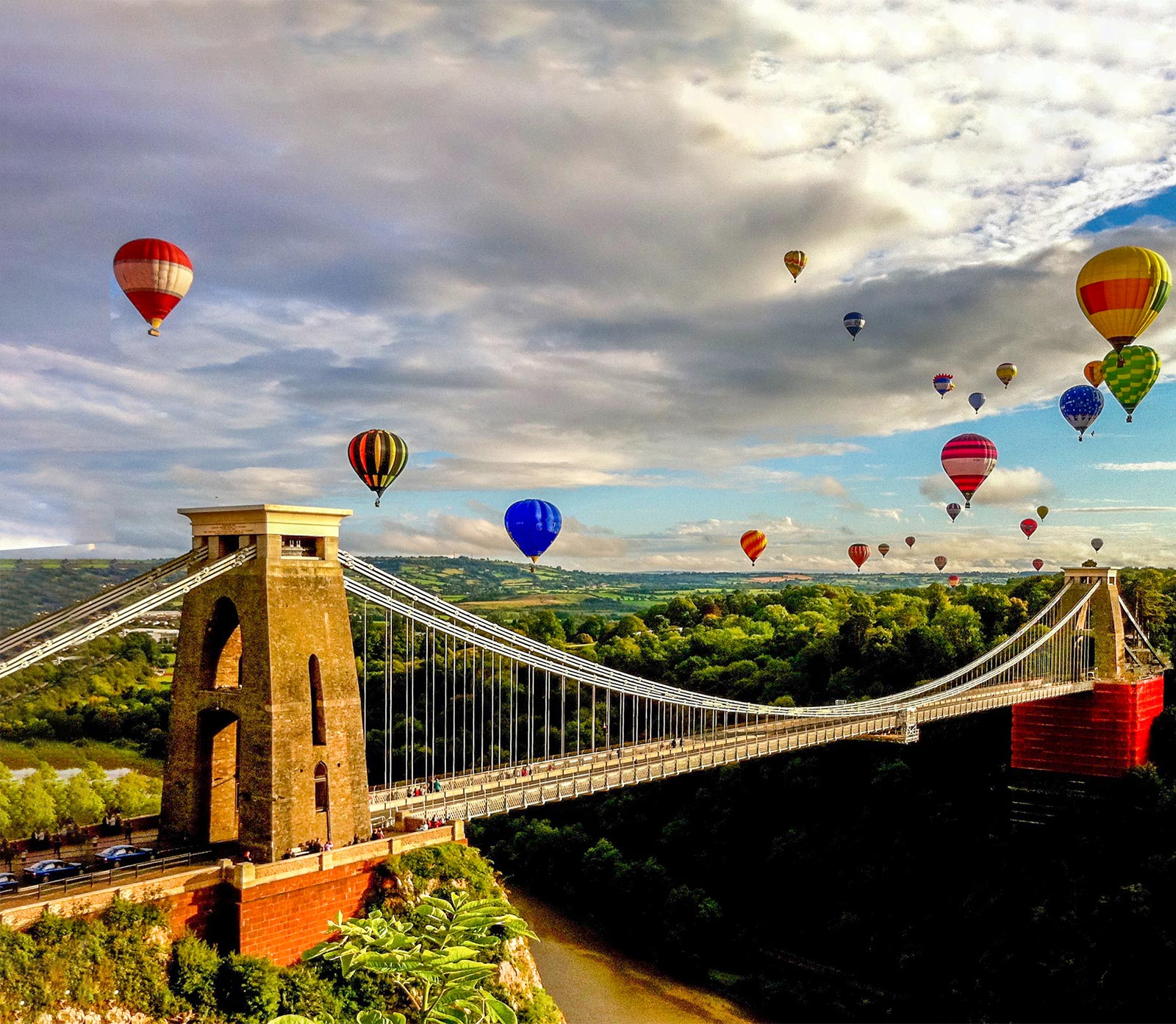 Bridge with hot air balloons